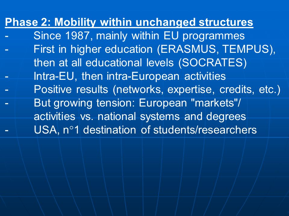 Phase 2: Mobility within unchanged structures - Since 1987, mainly within EU programmes - First in higher education (ERASMUS, TEMPUS), then at all educational levels (SOCRATES) - Intra-EU, then intra-European activities -Positive results (networks, expertise, credits, etc.) -But growing tension: European markets / activities vs.