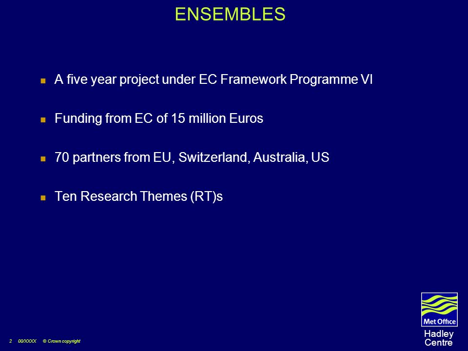 2 00/XXXX © Crown copyright Hadley Centre ENSEMBLES A five year project under EC Framework Programme VI Funding from EC of 15 million Euros 70 partners from EU, Switzerland, Australia, US Ten Research Themes (RT)s