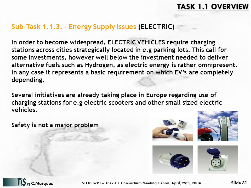 STEPS WP1 – Task 1.1 Consortium Meeting Lisbon, April, 29th, 2004 Slide 31 C.Marques In order to become widespread, ELECTRIC VEHICLES require charging stations across cities strategically located in e.g parking lots.