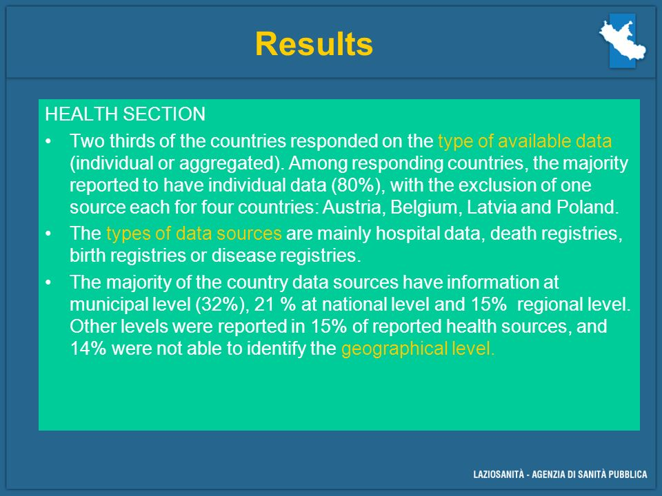HEALTH SECTION Two thirds of the countries responded on the type of available data (individual or aggregated).