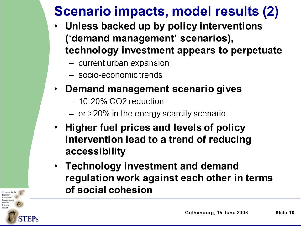 Gothenburg, 15 June 2006Slide 18 Scenario impacts, model results (2) Unless backed up by policy interventions (demand management scenarios), technology investment appears to perpetuate –current urban expansion –socio-economic trends Demand management scenario gives –10-20% CO2 reduction –or >20% in the energy scarcity scenario Higher fuel prices and levels of policy intervention lead to a trend of reducing accessibility Technology investment and demand regulation work against each other in terms of social cohesion