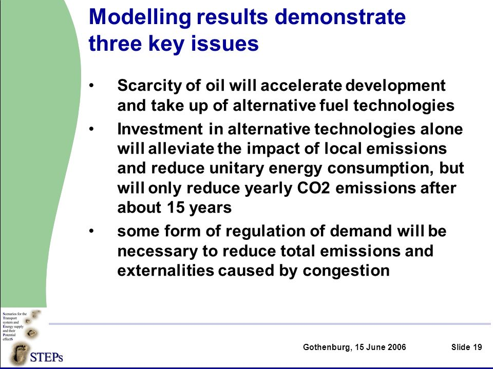Gothenburg, 15 June 2006Slide 19 Modelling results demonstrate three key issues Scarcity of oil will accelerate development and take up of alternative fuel technologies Investment in alternative technologies alone will alleviate the impact of local emissions and reduce unitary energy consumption, but will only reduce yearly CO2 emissions after about 15 years some form of regulation of demand will be necessary to reduce total emissions and externalities caused by congestion