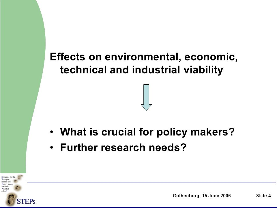 Gothenburg, 15 June 2006Slide 4 Effects on environmental, economic, technical and industrial viability What is crucial for policy makers.