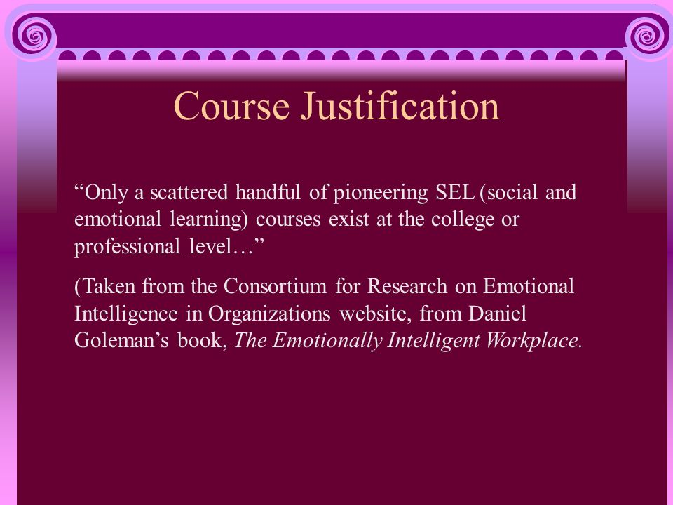 Course Justification Only a scattered handful of pioneering SEL (social and emotional learning) courses exist at the college or professional level… (Taken from the Consortium for Research on Emotional Intelligence in Organizations website, from Daniel Golemans book, The Emotionally Intelligent Workplace.