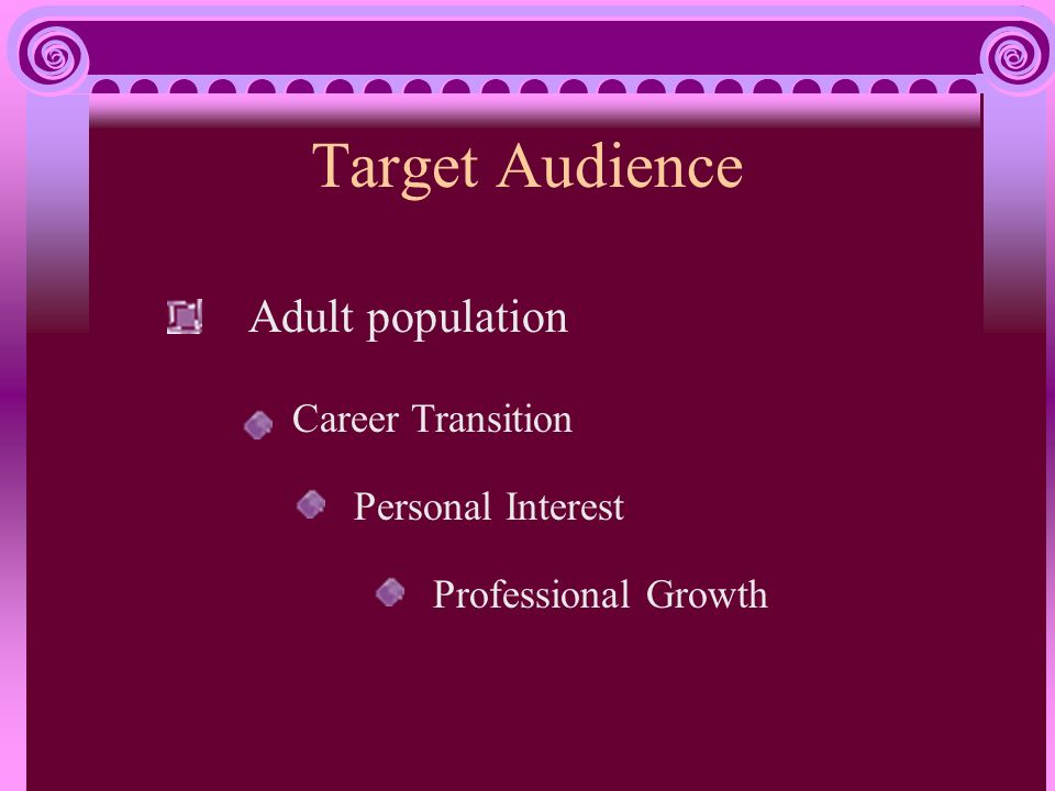 Target Audience Adult population Career Transition Personal Interest Professional Growth