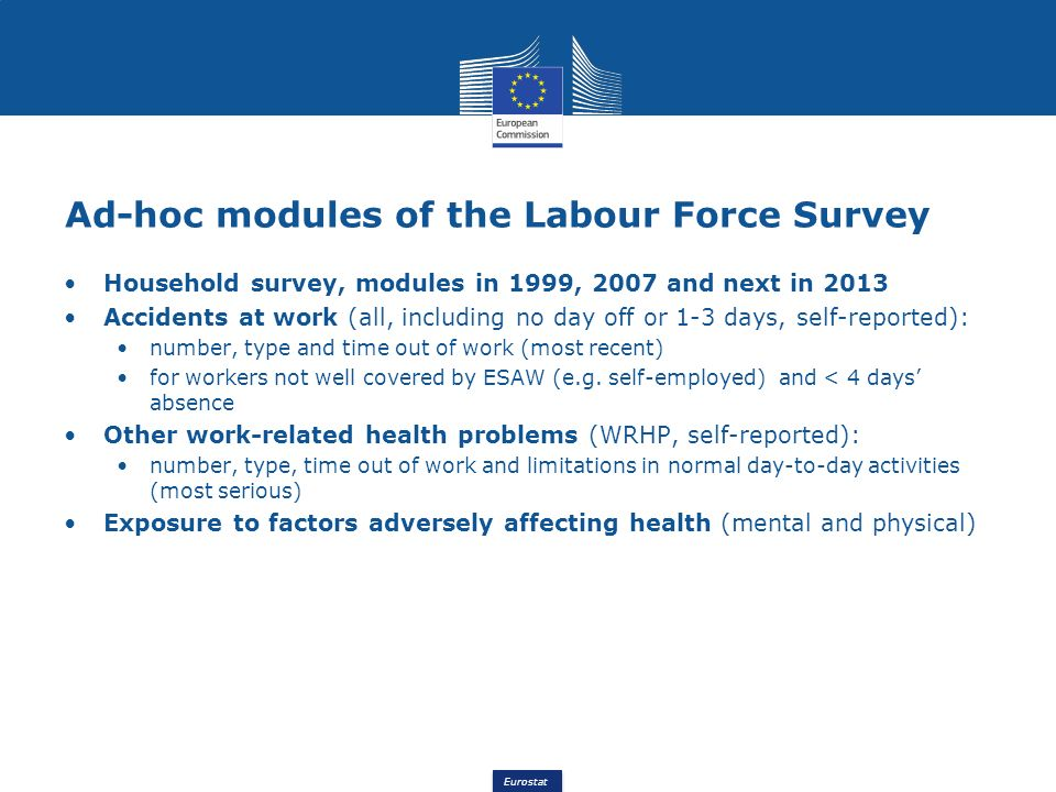 Eurostat Ad-hoc modules of the Labour Force Survey Household survey, modules in 1999, 2007 and next in 2013 Accidents at work (all, including no day off or 1-3 days, self-reported): number, type and time out of work (most recent) for workers not well covered by ESAW (e.g.