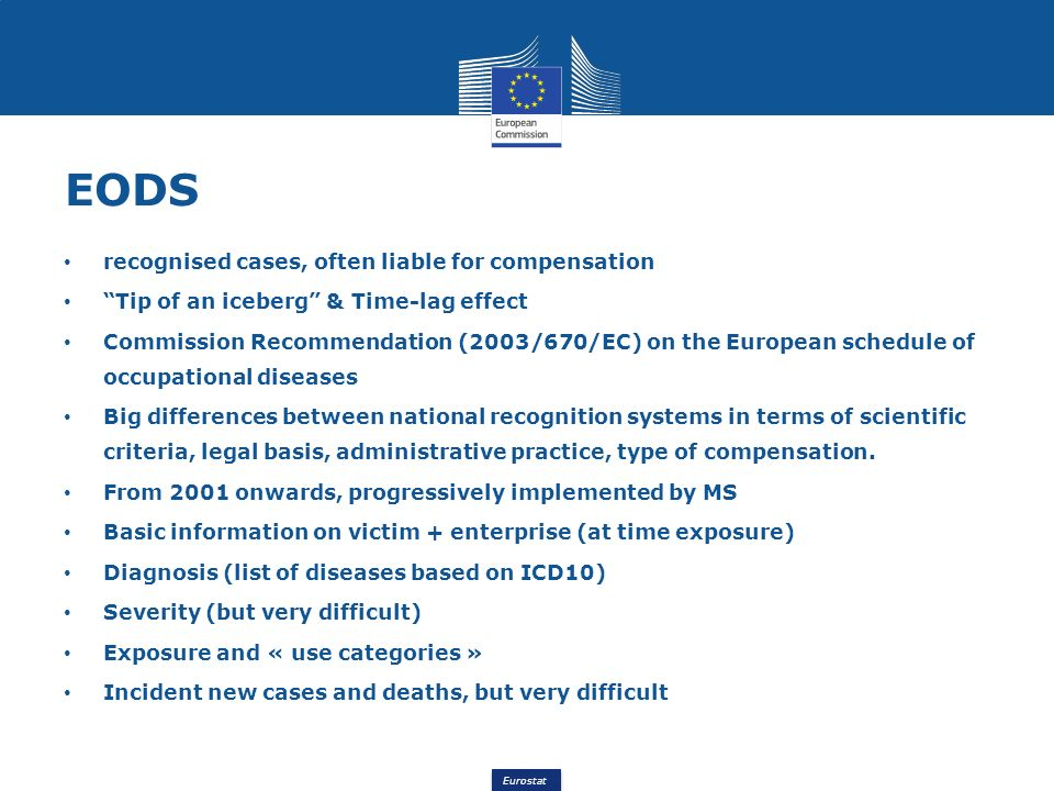 Eurostat EODS recognised cases, often liable for compensation Tip of an iceberg & Time-lag effect Commission Recommendation (2003/670/EC) on the European schedule of occupational diseases Big differences between national recognition systems in terms of scientific criteria, legal basis, administrative practice, type of compensation.