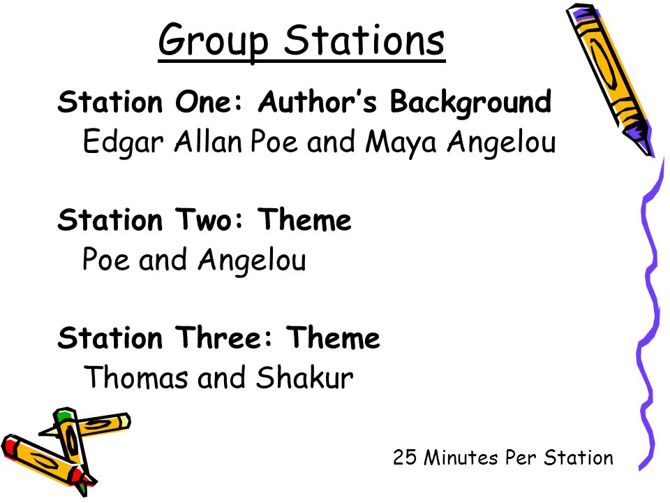 Group Stations Station One: Authors Background Edgar Allan Poe and Maya Angelou Station Two: Theme Poe and Angelou Station Three: Theme Thomas and Shakur 25 Minutes Per Station