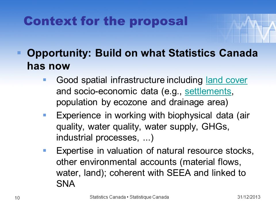 31/12/2013 Statistics Canada Statistique Canada 10 Context for the proposal Opportunity: Build on what Statistics Canada has now Good spatial infrastructure including land cover and socio-economic data (e.g., settlements, population by ecozone and drainage area)land coversettlements Experience in working with biophysical data (air quality, water quality, water supply, GHGs, industrial processes,...) Expertise in valuation of natural resource stocks, other environmental accounts (material flows, water, land); coherent with SEEA and linked to SNA