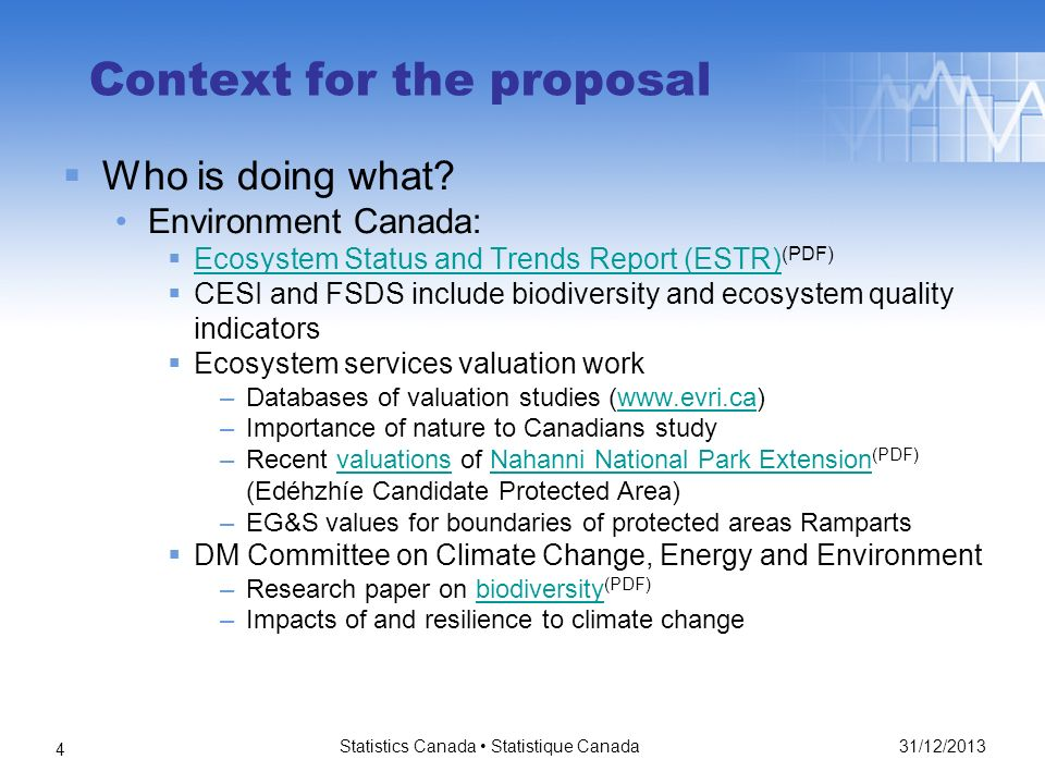 31/12/2013 Statistics Canada Statistique Canada 4 Context for the proposal Who is doing what.