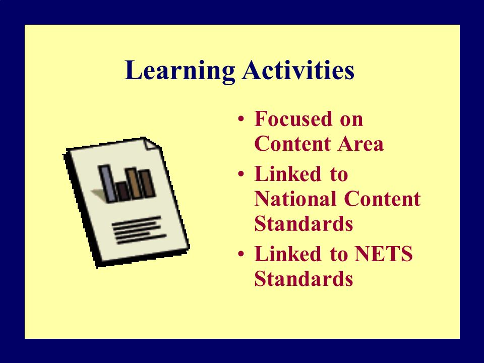 Learning Activities Focused on Content Area Linked to National Content Standards Linked to NETS Standards