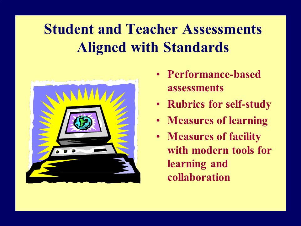 Student and Teacher Assessments Aligned with Standards Performance-based assessments Rubrics for self-study Measures of learning Measures of facility with modern tools for learning and collaboration