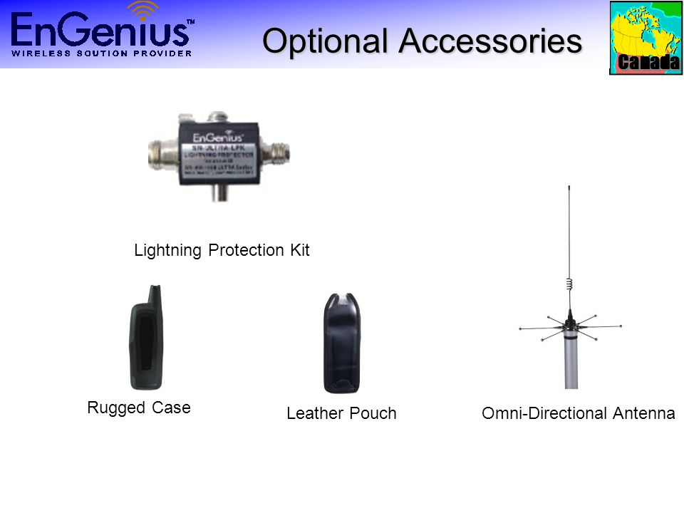 Canada Optional Accessories Lightning Protection Kit Omni-Directional Antenna Rugged Case Leather Pouch