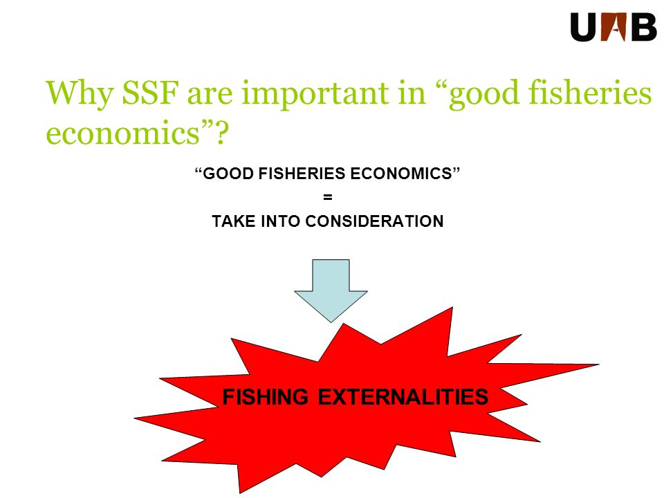 GOOD FISHERIES ECONOMICS = TAKE INTO CONSIDERATION Why SSF are important in good fisheries economics.