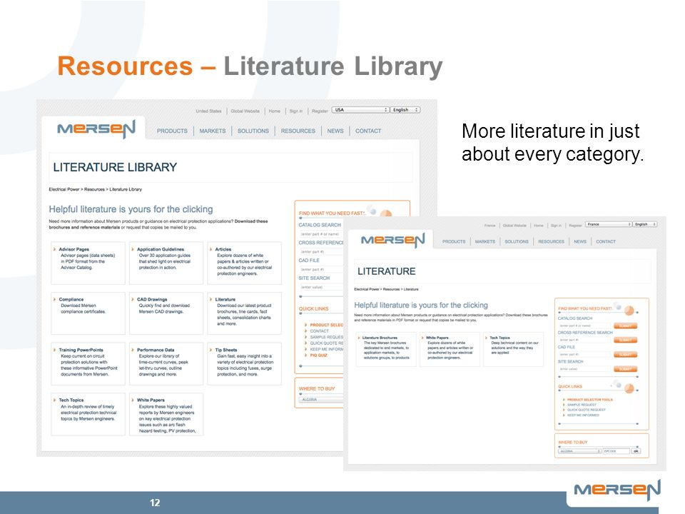 12 Resources – Literature Library More literature in just about every category.