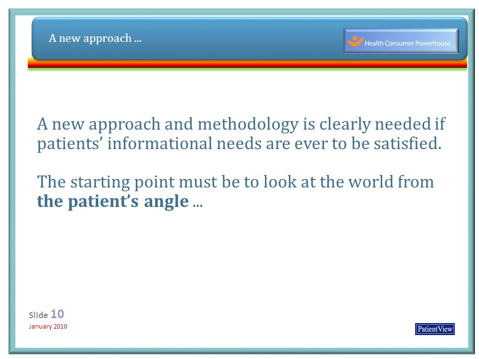Click to edit Master title style Click to edit Master subtitle style 12/31/ Slide 10 January 2010 Slide 10 January 2010 A new approach and methodology is clearly needed if patients informational needs are ever to be satisfied.