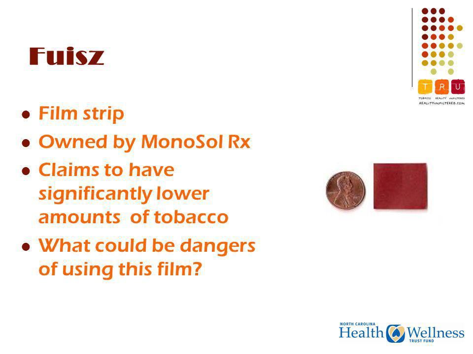Fuisz Film strip Owned by MonoSol Rx Claims to have significantly lower amounts of tobacco What could be dangers of using this film