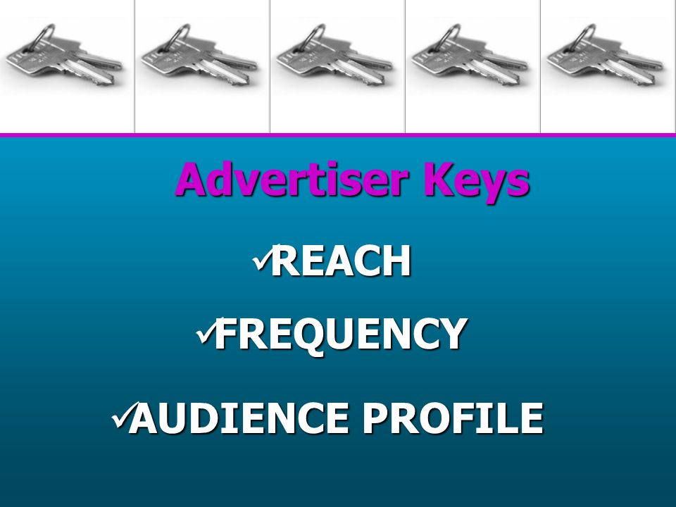 Advertiser Keys REACH REACH FREQUENCY FREQUENCY AUDIENCE PROFILE AUDIENCE PROFILE