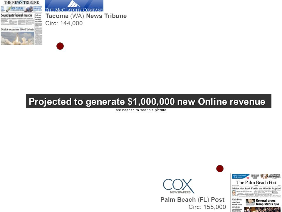 Tacoma (WA) News Tribune Circ: 144,000 Palm Beach (FL) Post Circ: 155,000 Projected to generate $1,000,000 new Online revenue