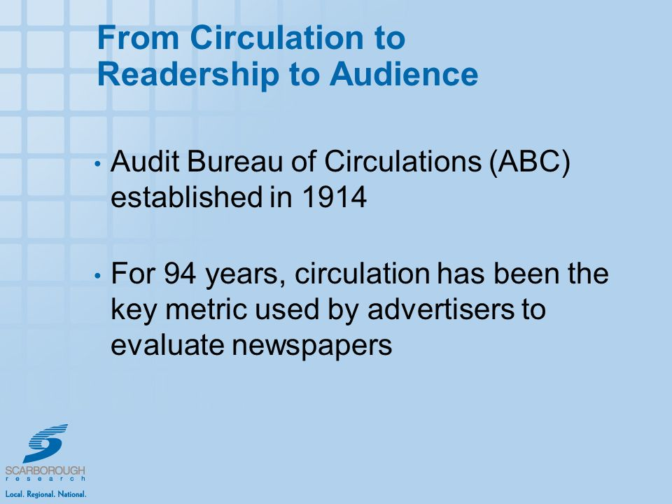 From Circulation to Readership to Audience Audit Bureau of Circulations (ABC) established in 1914 For 94 years, circulation has been the key metric used by advertisers to evaluate newspapers