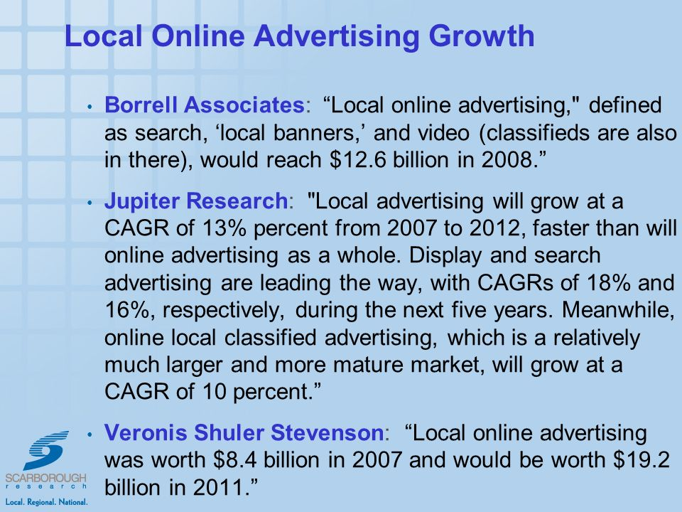 Local Online Advertising Growth Borrell Associates: Local online advertising, defined as search, local banners, and video (classifieds are also in there), would reach $12.6 billion in 2008.