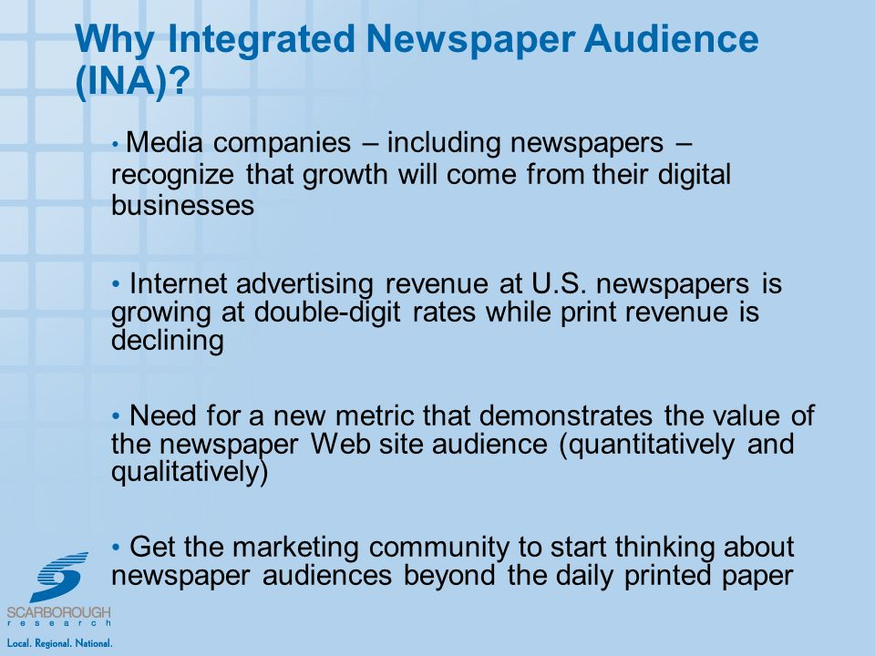 Media companies – including newspapers – recognize that growth will come from their digital businesses Internet advertising revenue at U.S.