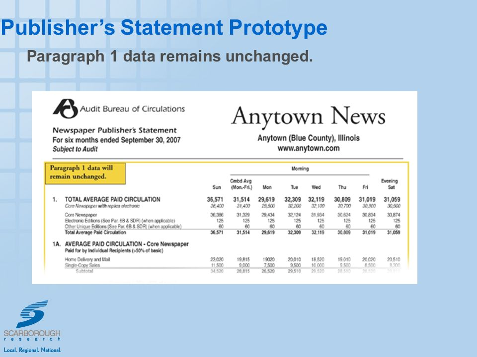 Publishers Statement Prototype Paragraph 1 data remains unchanged.