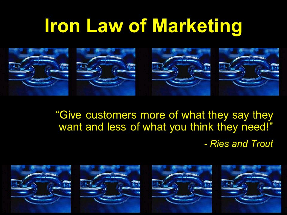 Iron Law of Marketing Give customers more of what they say they want and less of what you think they need.
