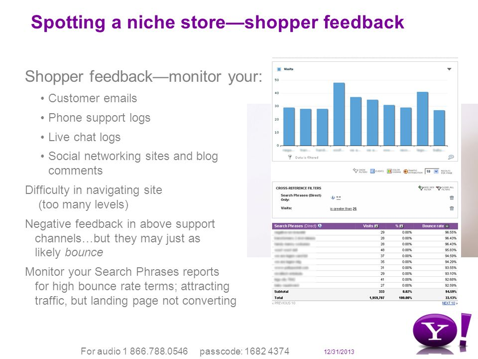 12/31/2013 For audio 1 866.788.0546 passcode: 1682 4374 Spotting a niche storeshopper feedback Shopper feedbackmonitor your: Customer emails Phone support logs Live chat logs Social networking sites and blog comments Difficulty in navigating site (too many levels) Negative feedback in above support channels…but they may just as likely bounce Monitor your Search Phrases reports for high bounce rate terms; attracting traffic, but landing page not converting