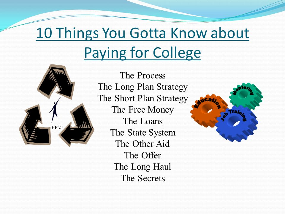 10 Things You Gotta Know about Paying for College EP 21 The Process The Long Plan Strategy The Short Plan Strategy The Free Money The Loans The State System The Other Aid The Offer The Long Haul The Secrets