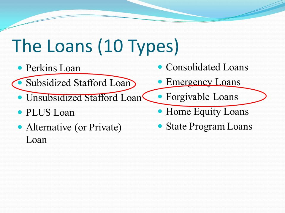 The Loans (10 Types) Perkins Loan Subsidized Stafford Loan Unsubsidized Stafford Loan PLUS Loan Alternative (or Private) Loan Consolidated Loans Emergency Loans Forgivable Loans Home Equity Loans State Program Loans