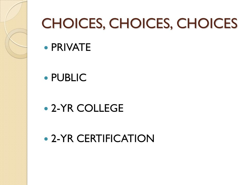 CHOICES, CHOICES, CHOICES PRIVATE PUBLIC 2-YR COLLEGE 2-YR CERTIFICATION