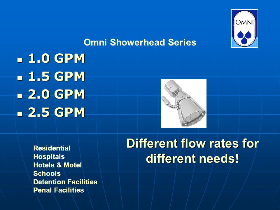 1.0 GPM 1.0 GPM 1.5 GPM 1.5 GPM 2.0 GPM 2.0 GPM 2.5 GPM 2.5 GPM Omni Showerhead Series Different flow rates for different needs.