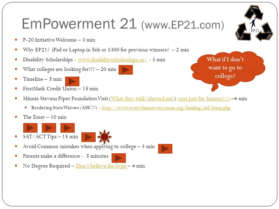 EmPowerment 21 (www.EP21.com) P-20 Initiative Welcome – 3 min Why EP21.
