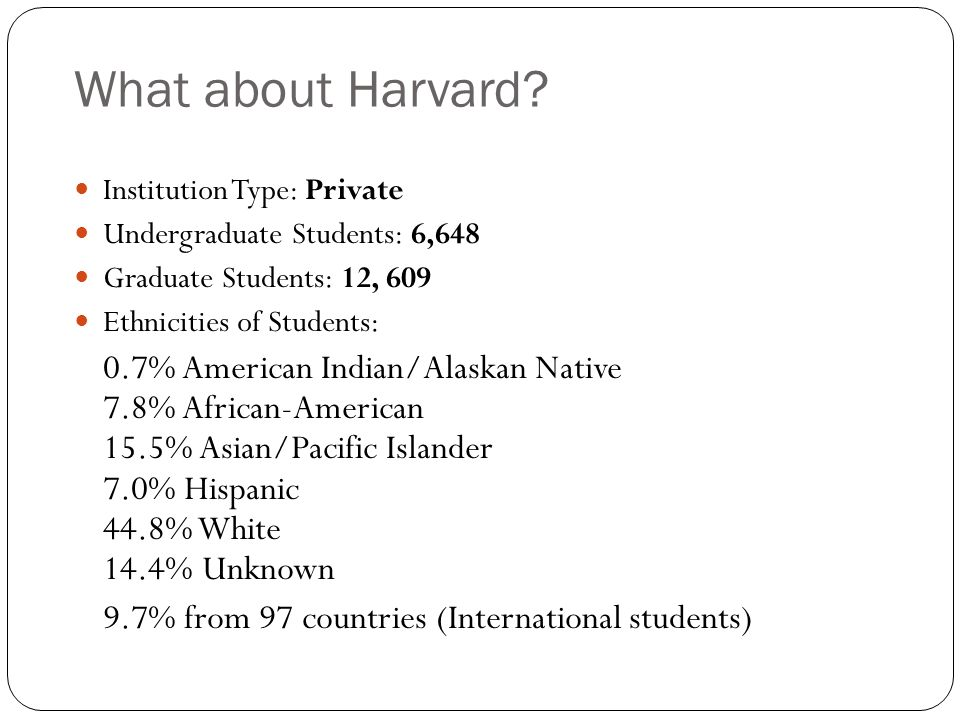 What about Harvard.