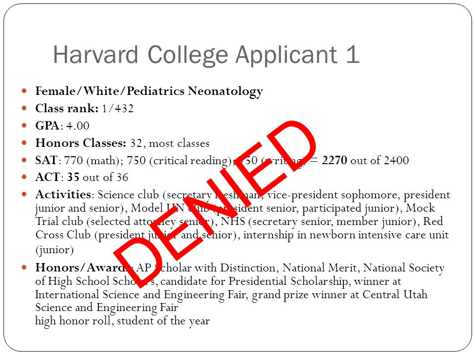 Harvard College Applicant 1 Female/White/Pediatrics Neonatology Class rank: 1/432 GPA: 4.00 Honors Classes: 32, most classes SAT: 770 (math); 750 (critical reading); 750 (writing) = 2270 out of 2400 ACT: 35 out of 36 Activities: Science club (secretary freshman, vice-president sophomore, president junior and senior), Model UN club (president senior, participated junior), Mock Trial club (selected attorney senior), NHS (secretary senior, member junior), Red Cross Club (president junior and senior), internship in newborn intensive care unit (junior) Honors/Awards: AP Scholar with Distinction, National Merit, National Society of High School Scholars, candidate for Presidential Scholarship, winner at International Science and Engineering Fair, grand prize winner at Central Utah Science and Engineering Fair high honor roll, student of the year DENIED