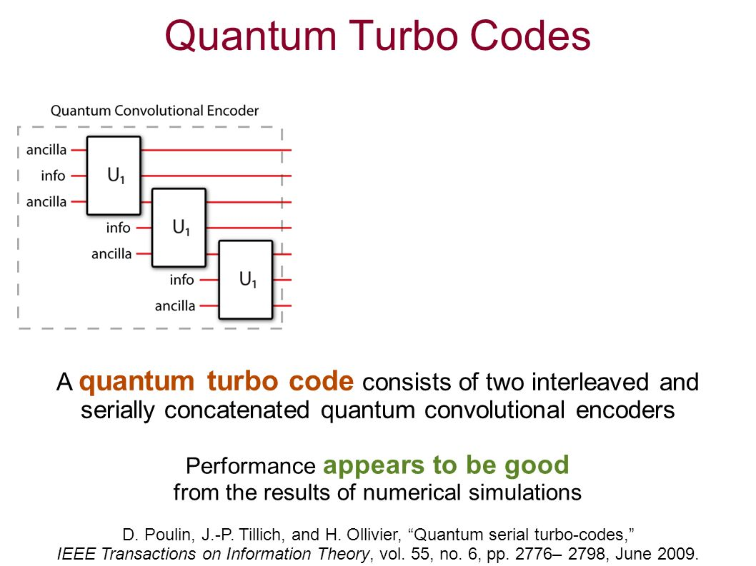 Quantum Turbo Codes A quantum turbo code consists of two interleaved and serially concatenated quantum convolutional encoders D.
