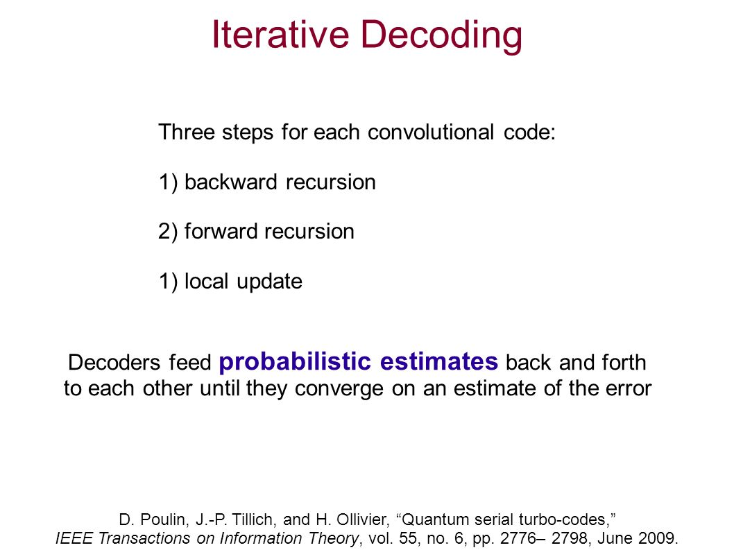 Iterative Decoding D. Poulin, J.-P. Tillich, and H.