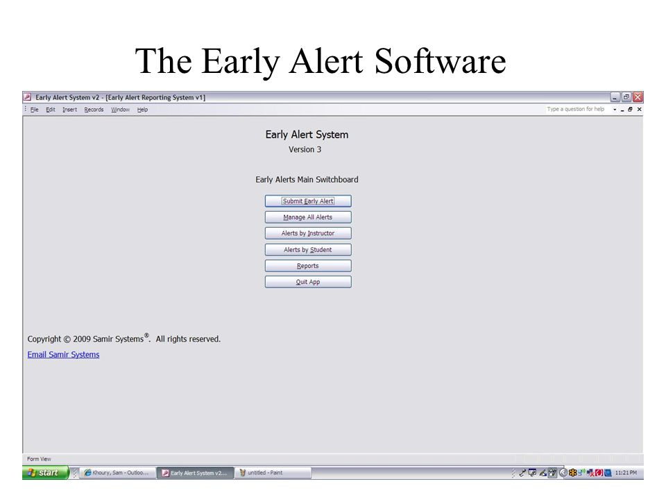 The Early Alert Software