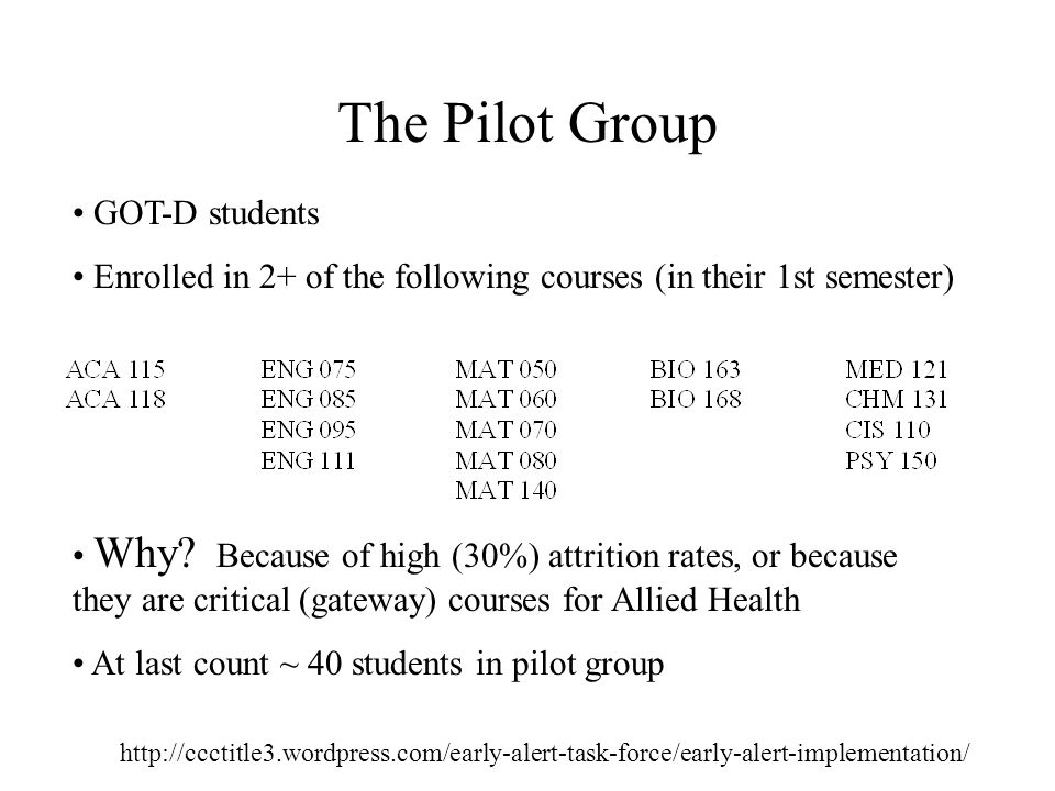 The Pilot Group   GOT-D students Enrolled in 2+ of the following courses (in their 1st semester) Why.