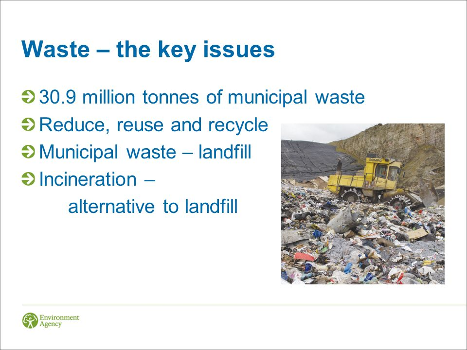 Waste – the key issues 30.9 million tonnes of municipal waste Reduce, reuse and recycle Municipal waste – landfill Incineration – alternative to landfill
