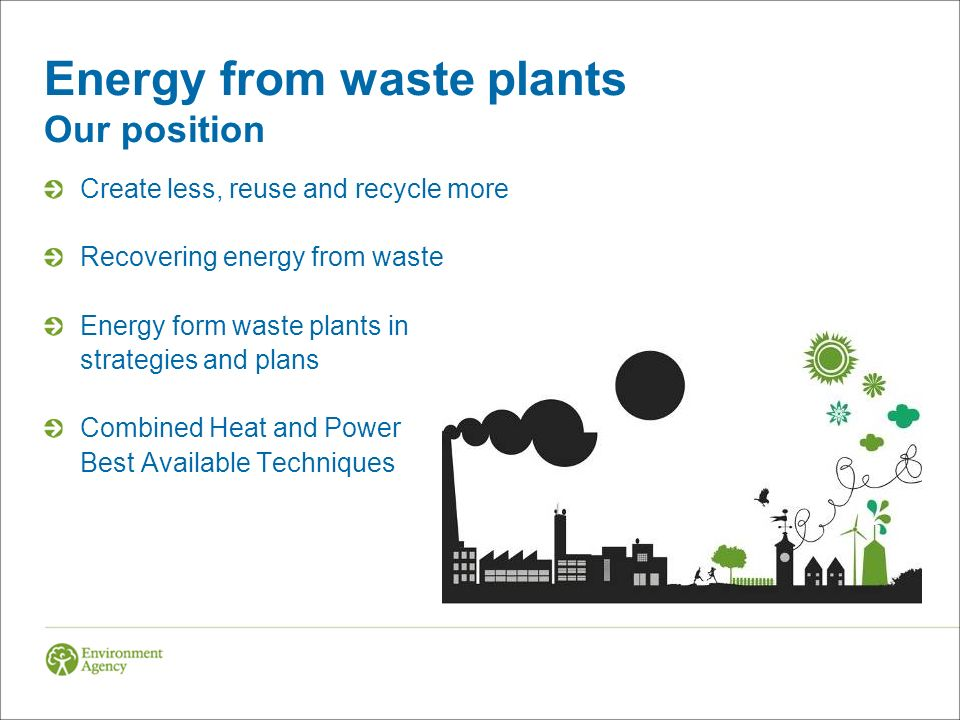 Energy from waste plants Our position Create less, reuse and recycle more Recovering energy from waste Energy form waste plants in strategies and plans Combined Heat and Power Best Available Techniques