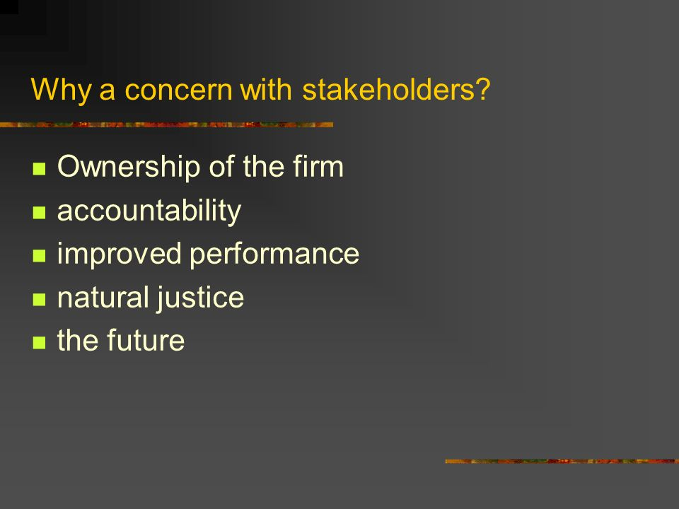 Why a concern with stakeholders.