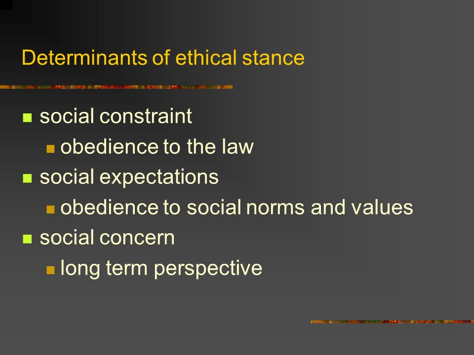 Determinants of ethical stance social constraint obedience to the law social expectations obedience to social norms and values social concern long term perspective
