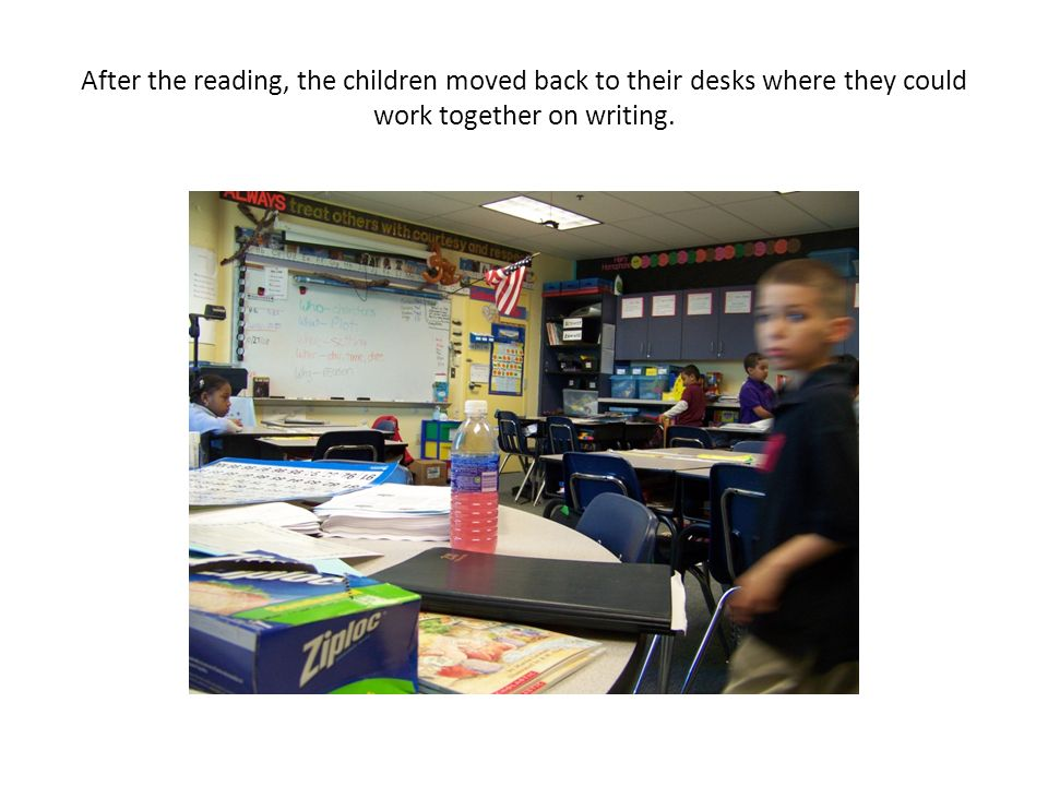 After the reading, the children moved back to their desks where they could work together on writing.