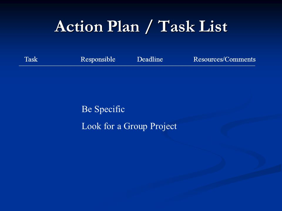 Action Plan / Task List TaskResponsibleDeadlineResources/Comments Be Specific Look for a Group Project