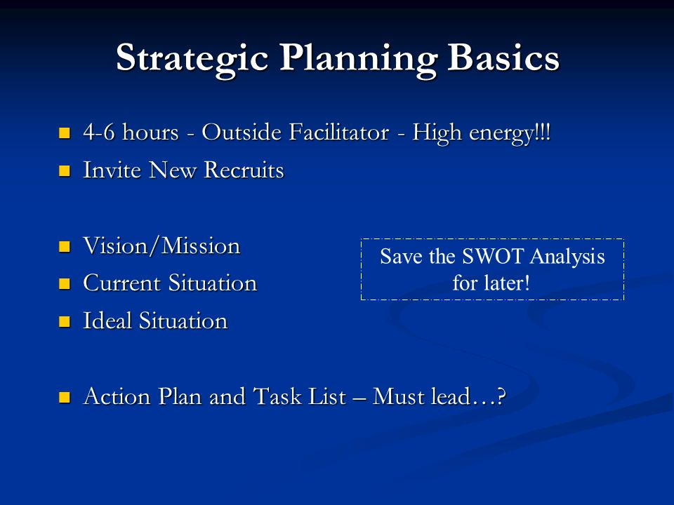 Strategic Planning Basics 4-6 hours - Outside Facilitator - High energy!!.