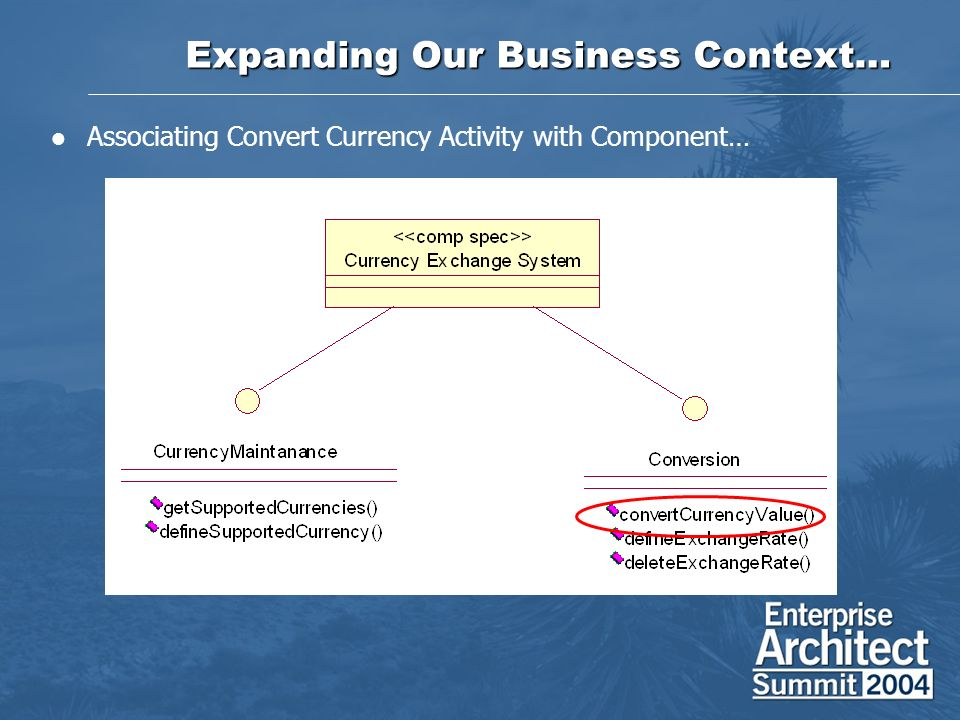 Expanding Our Business Context… Associating Convert Currency Activity with Component…