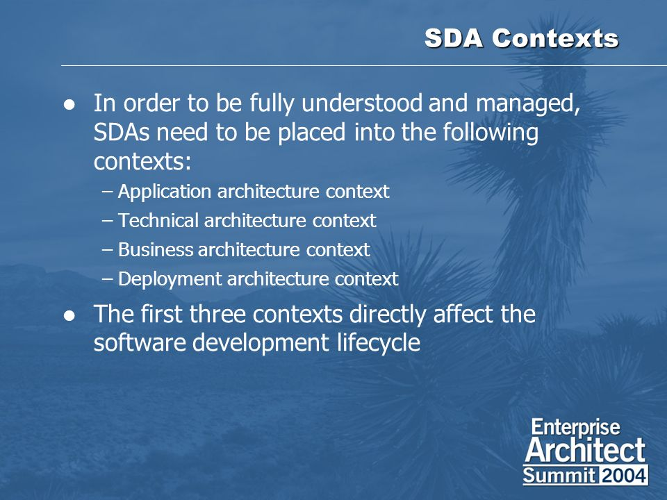 SDA Contexts In order to be fully understood and managed, SDAs need to be placed into the following contexts: –Application architecture context –Technical architecture context –Business architecture context –Deployment architecture context The first three contexts directly affect the software development lifecycle