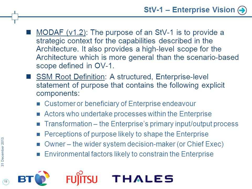 19 31 December 2013 StV-1 – Enterprise Vision MODAF (v1.2): The purpose of an StV-1 is to provide a strategic context for the capabilities described in the Architecture.